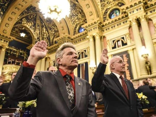 Rep. Russ Diamond (left, R-102) and Rep. Frank Ryan (right, R-101) take the Oath of Office in the Capitol in Harrisburg on Jan. 3.
