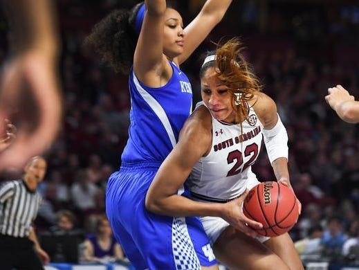South Carolina forward A'ja Wilson (22) drives toward the basket against Kentucky in a game at Bon Secours Wellness Arena.