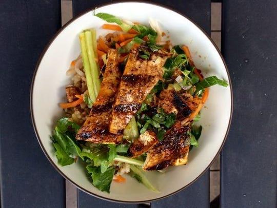 Lemongrass tofu rice bowl at Vui's Kitchen.