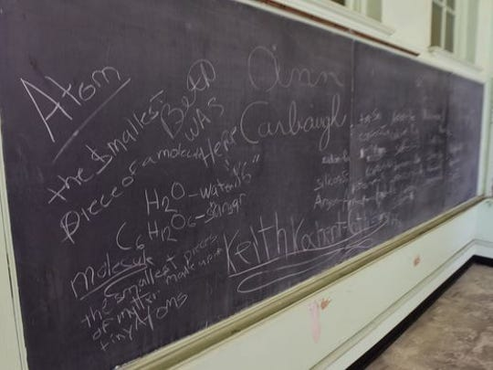 A science lesson was left on the blackboard in a classroom in the old Central Junior High School when it closed in the 1980s.