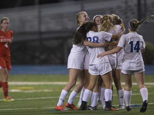 Shore celebrate their second goal as they took a 2-1 lead. Shore Girls Soccer vs Glen Ridge in Group I Final in Union NJ on November 19, 2016  Peter Ackerman