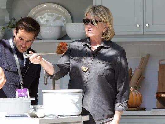 Martha Stewart talks about utensils during a cooking