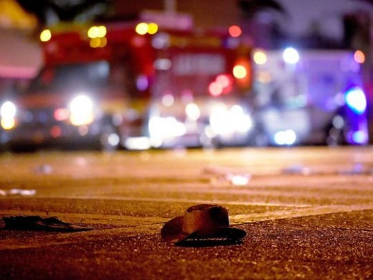 A cowboy hat lays in the street after the shots were fired near a country music festival on Oct. 1 in Las Vegas.