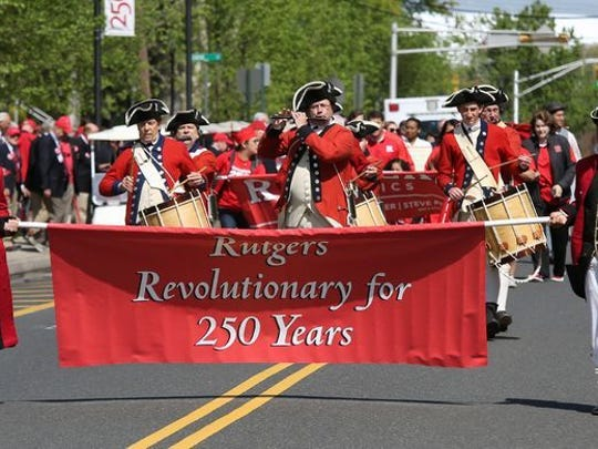 One of the most popular events at Rutgers Day is the annual march of alumni and school officials in the alumni parade up College Avenue in New Brunswick.