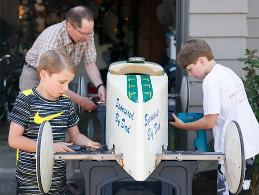 """The """"bugs"""", more commonly known today as Soap Box Derby cars are an annual tradition in Bush's Pasture Park."""