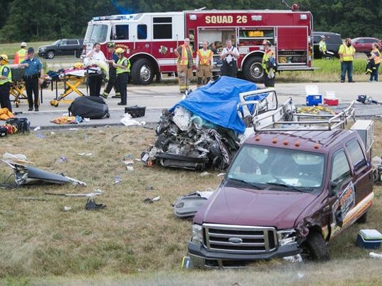 The scene of a fatal crash that killed a Teaneck man and his four daughters on Route 1, near Townsend, Delaware, on July 6.