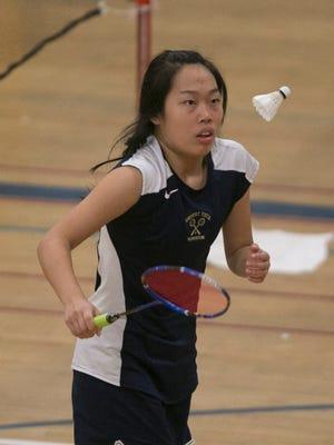 Desert Vista's Karen Guo, shown winning the singles badminton state championship on Oct. 25, 2014, repeated as champion on Oct. 24, 2015.