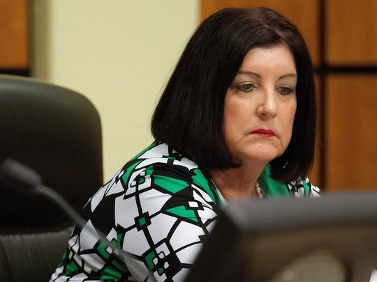 Lee County School Superintendent Nancy Graham listens to public comments Wednesday (8/27/14) during a school board meeting in Fort Myers. Lee County is the first in Florida to opt out of Common Core.
