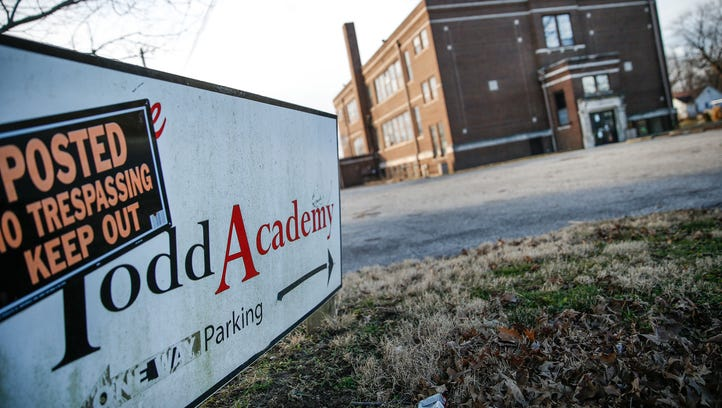 The former Todd Academy, Inc., building sits vacant along S. Pennsylvania Street in Indianapolis on Tuesday, Feb. 14, 2017.