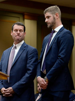 Predators forward Austin Watson appears in the Williamson County General Sessions Court with attorney Mark Puryear III on July 24.