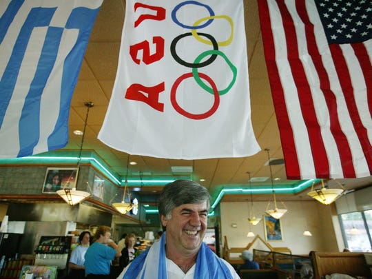 "George Dimopoulos, 58, owner of Senate Coney Island restaurants, helped the family of Olympian athlete, Shelia Taormina get to Athens, by getting his brother and cousin in Athens to house the some 23 family and friends of Taormina, in two homes and one apartment. ""To be good to someone, doesn't hurt,"" he said."
