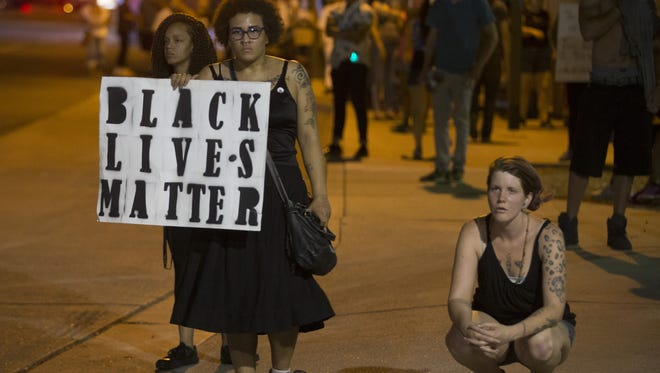 Black Lives Matter marchers in Phoenix on July 8.