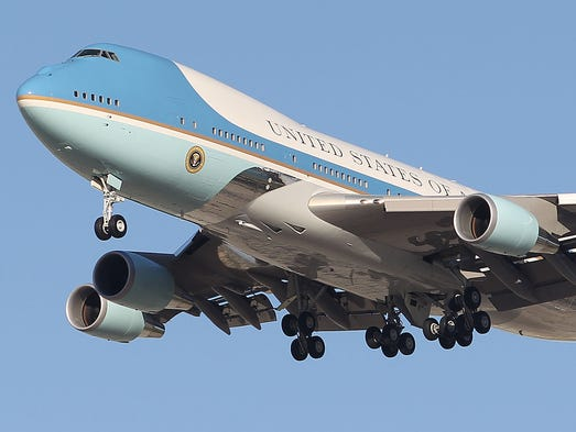 Air Force One on approach into Palm Springs International Airport on Friday, June 13, 2014.