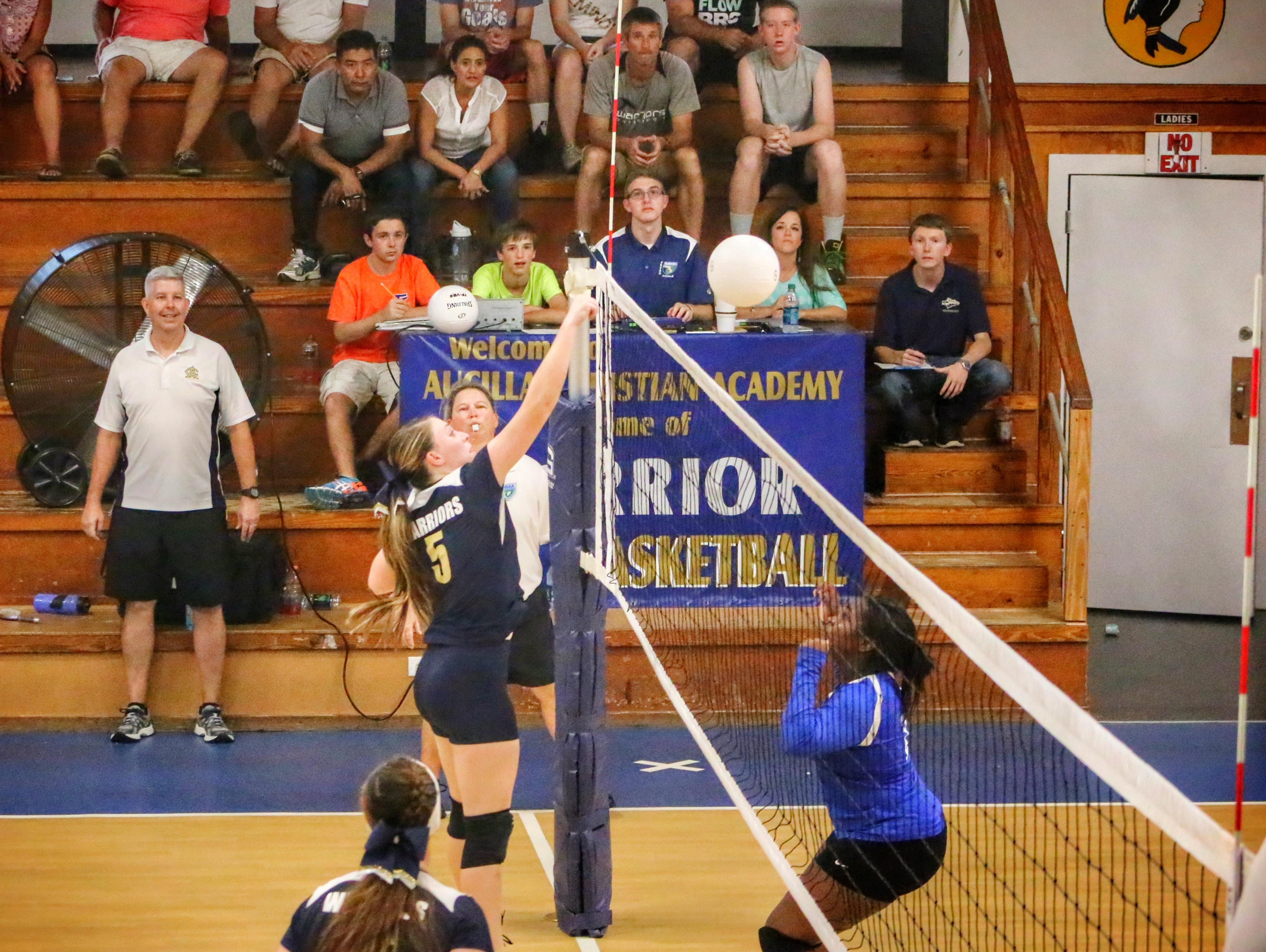 The Aucilla Christian volleyball team plays a match against Taylor County. The Warriors are in their first year as a girls program.