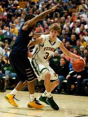 Vermont's Kurt Steidl (34) drives to the hoop during a men's basketball game against Quinnipiac at Patrick Gymnasium last season.