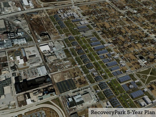 Blue-green infrastructure projects on tap in Detroit include the RecoveryPark framing project, planned as an extensive array of growing sheds as envisions in this 2015 architectural rendering.