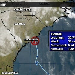 Bonnie made landfall near Charleston, S.C., May 29, 2016.