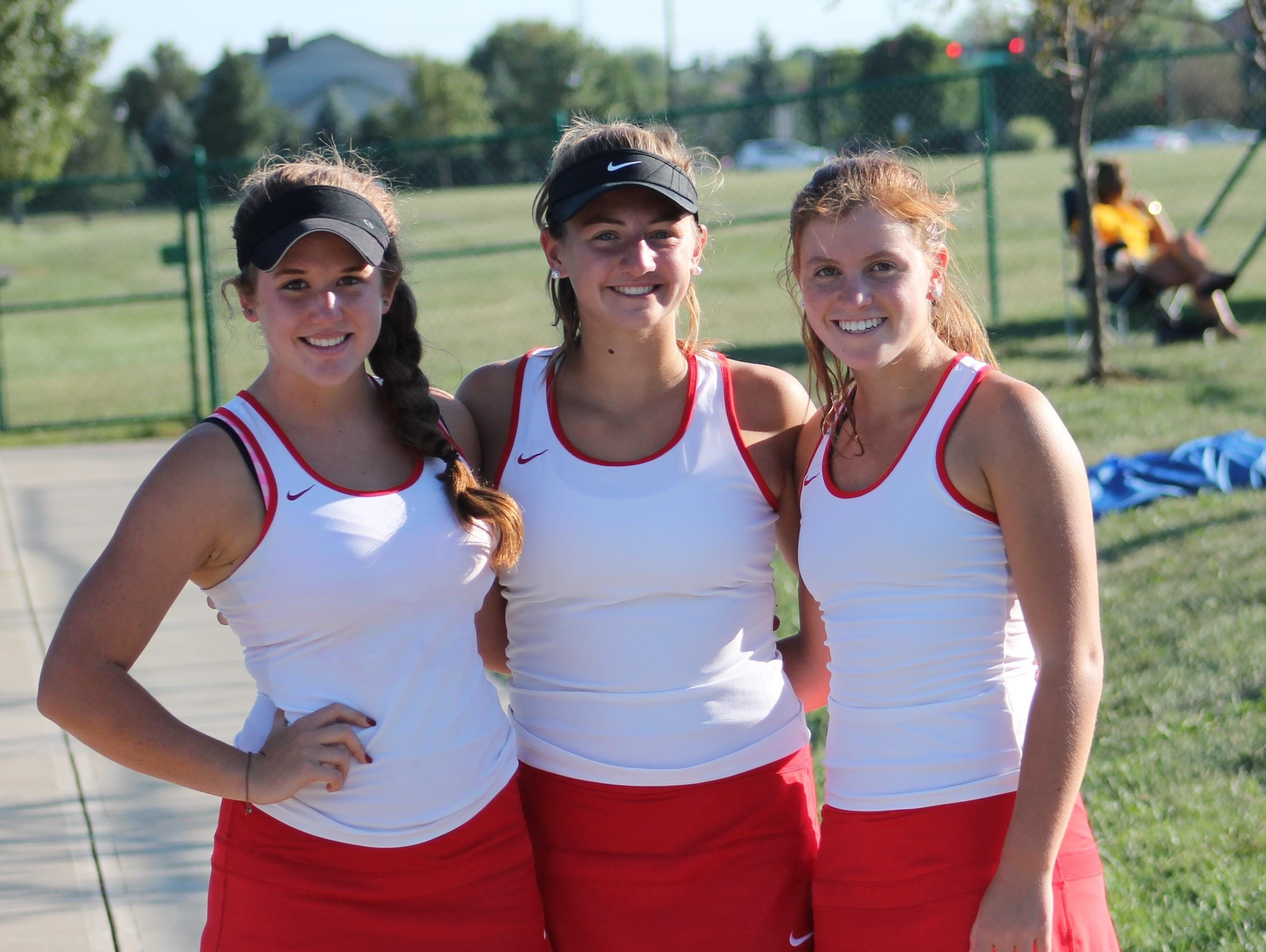 Indian Hill's singles players are, from left, Meredith Breda, Caroline Andersen and Gracey Hirsch. Andersen plays first, Hirsch second and Breda third singles.