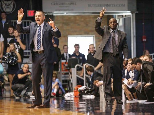 Butler coaches Chris Holtmann, left, and Terry Johnson,