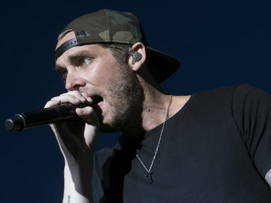 Brett Young performs on the main stage at Country Thunder Arizona on Sunday, April 8, 2018.