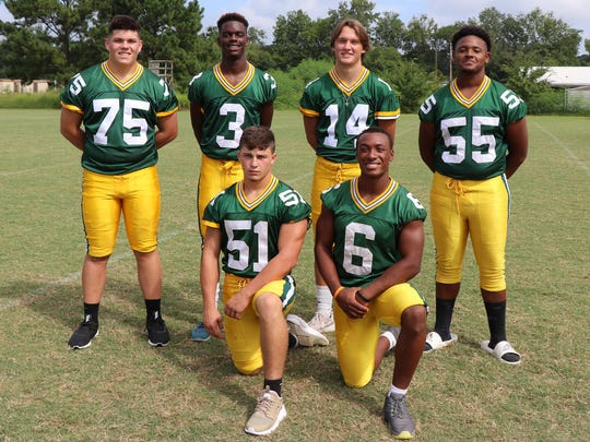 Cecilia's offensive lineup includes (front, from left) Cameron Calais, Devin Briscoe, (back, from left) Logan Kidder, Kaleb Carter, Landon LaLonde and Josten Spells.