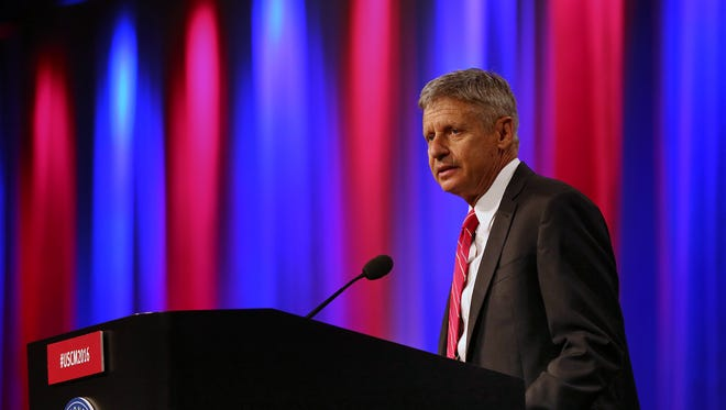 Libertarian presidential nominee Gary Johnson speaks at The United States Conference of Mayors held at the JW Marriott, Monday, June 27, 2016.
