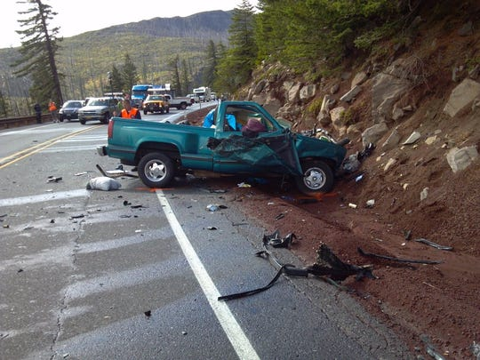 The 1993 Chevrolet pickup that crossed over the center lane of Highway 20 near Santiam Junction and Hogg Rock at about 2 p.m. on Thursday, Sep. 3.