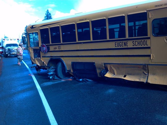 A school bus took significant damage after a pickup truck crossed the center lane of Highway 20 near Santiam Junction and Hogg Rock at about 2 p.m. on Thursday, Sep. 3.
