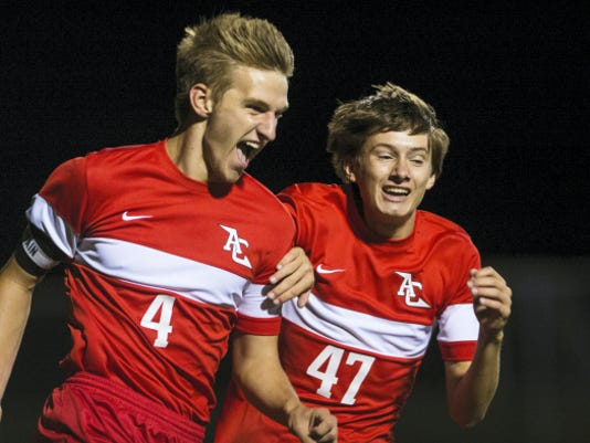 Annville-Cleona's Matt Light celebrates after scoring a goal against Elco during the regular season. Light helped lead the Little Dutchmen to their first-ever win in the Lancaster-Lebanon League playoffs against Elizabethtown on Saturday.