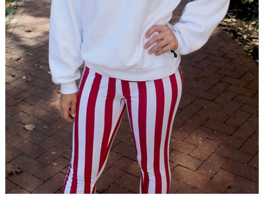 IU-themed candy-striped yoga pants.
