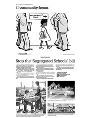 """Editorial page March 3, 2017 opposing """"Segregated Schools"""" legislation in HB 151."""