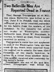 A story in the Newark Evening News announces the death of Gunnery Sgt. Fred Stockham of Belleville and another man.