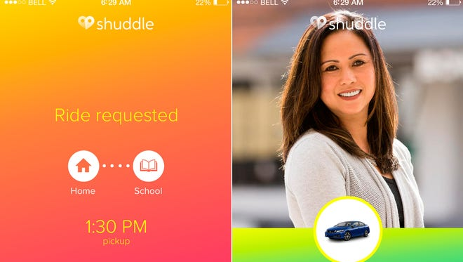 This product image provided by Shuddle shows screens from ShuddleMe, an app that lets eight- to 16-year-old kids who need to get to school, a sporting event or a social activity book a ride themselves within an hour of when the service is needed.