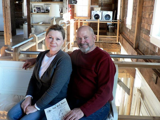 Ross and Theresa Halverson in the second floor of the old feed mill they remodeled over a four-year period -- an impossible job completed.