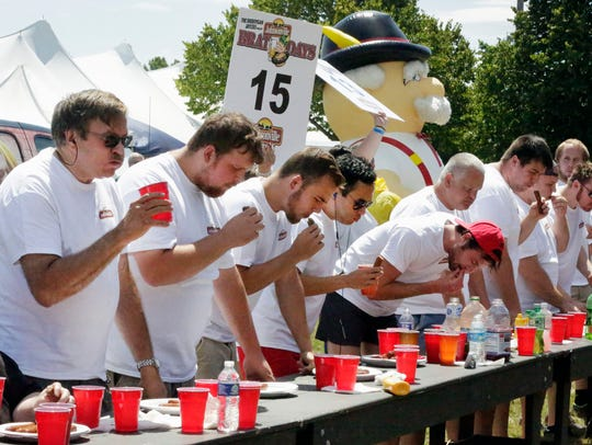 Scenes from the Brat Eating Contest at Kiwanis Park