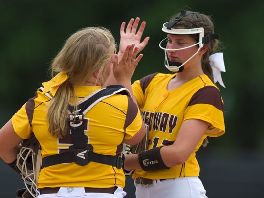 Speedway High School junior Rachael Gregory (5), left,