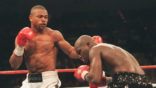 Roy Jones Jr., left, fights against James Toney on Nov. 18, 1994, in Las Vegas.