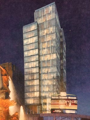 A photo of a rendering of the proposed Towne Properties residential tower atop Fountain Place. The project is no longer active, according to Towne Properties official Chad Munitz.