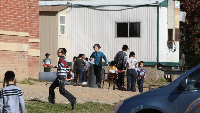 A trailer in use next to the yeshiva at 106 South Madison Ave. in Spring Valley, seen Oct. 15.
