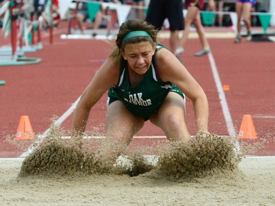 Oak Harbor's Emma Barney competes in the girls long jump during the Division II state final Saturday at Jesse Owens Memorial Stadium in Columbus.