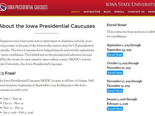 The Iowa caucuses will be the subject of Iowa State University's first official massive open online course, or MOOC.