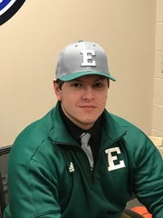 Alex Howie sports the colors of his future home, Eastern Michigan University.