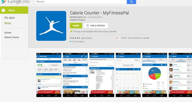 Myfitnesspal calorie counting apps adds pedometer for My shed app