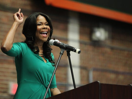 Florida A&M University welcomed alumni back to campus on Oct. 16 for the annual homecoming convocation. Keynote speaker Angela Robinson, a Broadway and TV star, praised the university for its role in shaping her life and guiding her future. Here, Robinson speaks at the convocation.