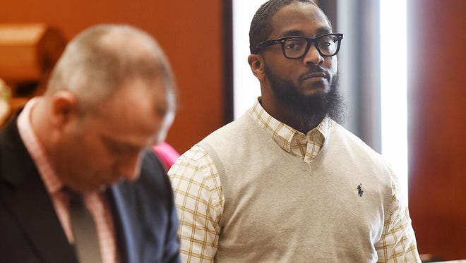 Defendant Basim Henry, 36, of South Orange, who faces a trial in the murder of Dustin Friedland of Hoboken at The Mall of Short Hills in Millburn on Dec. 15, 2013 during the alleged carjacking of the man's Range Rover, in Judge Michael Ravin's courtroom at Essex County Superior Court in Newark on March 15.