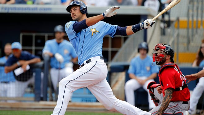 Tampa Bay Rays catcher Luke Maile (21) doubles during the third inning against the Boston Red Sox at Charlotte Sports Park on March 25.