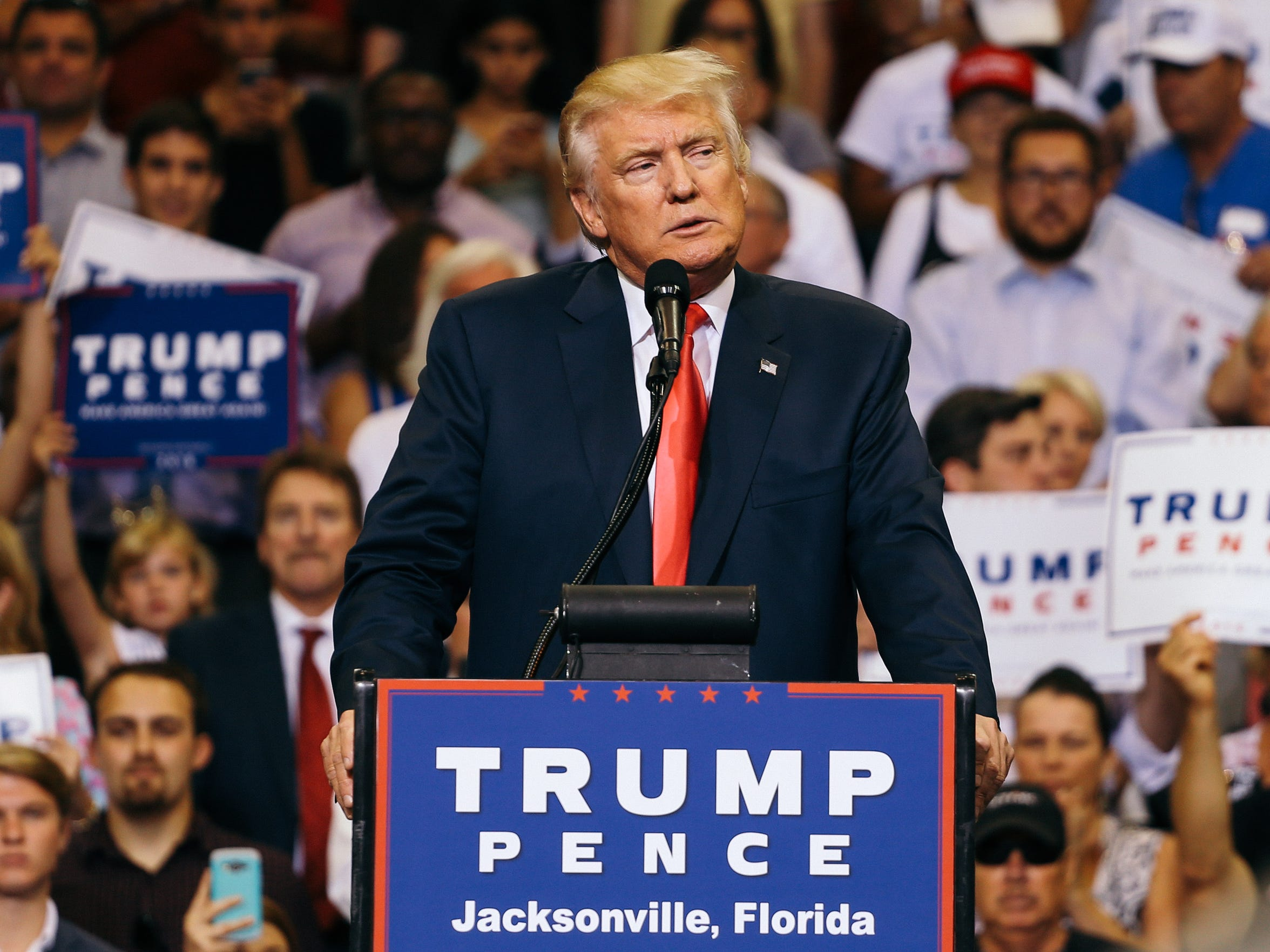 Donald Trump speaks at a rally at the Veterans Memorial Arena in Jacksonville, Florida on Wednesday, August 3, 2016.