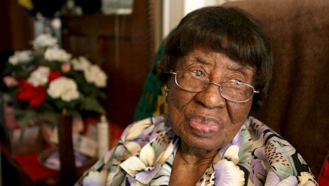 Dora Rucker in her home on Tuesday Nov. 5 2013. Rucker died on Wednesday Oct. 28, 2015, Rucker would have been 105 on Nov 11th if she had lived.