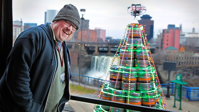 Beer columnist Will Cleveland with the keg tree.