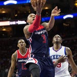 Wizards guard Bradley Beal (3) shoots the ball against the 76ers during the second quarter at Wells Fargo Center.